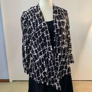 Libra L cardigan striped shear pattern black white